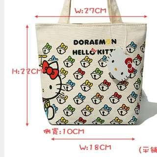 現貨kt 新款可愛卡通 Kitty 小叮噹 帆布小提包 拉鍊款 便當袋 手提包