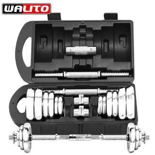 20kg 組合式啞鈴 送槓鈴轉接頭、運動護腕 、運動手套