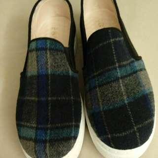富發牌 藍色格子厚底鞋