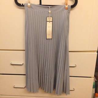 PAZZO灰藍色輕柔百摺裙