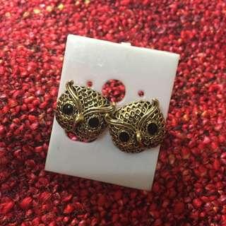 貓頭鷹復古金貼耳耳環