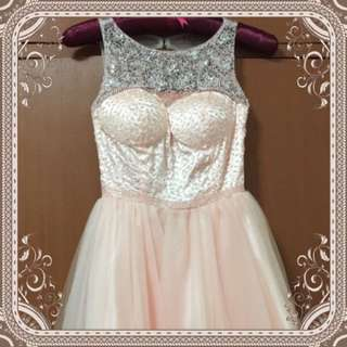 HOT SALES $38 TODAY ONLY!Peach Sexy Crystal Princess Gown