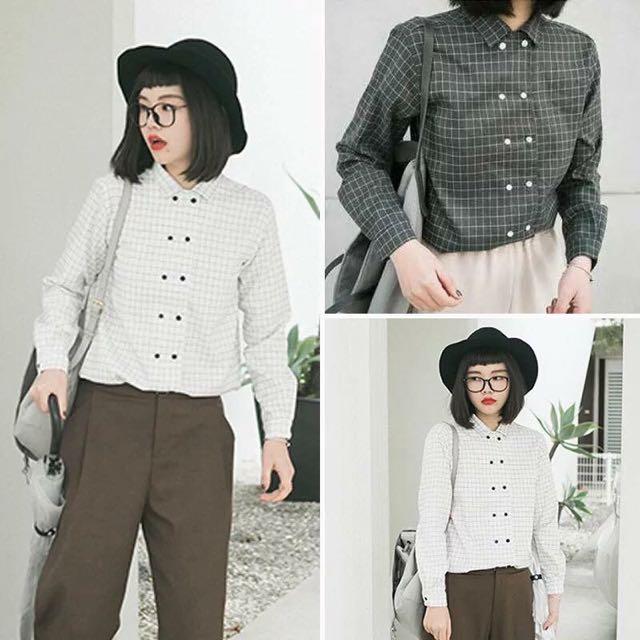 (預購7-10天)韓國熱銷雙排扣設計襯衫
