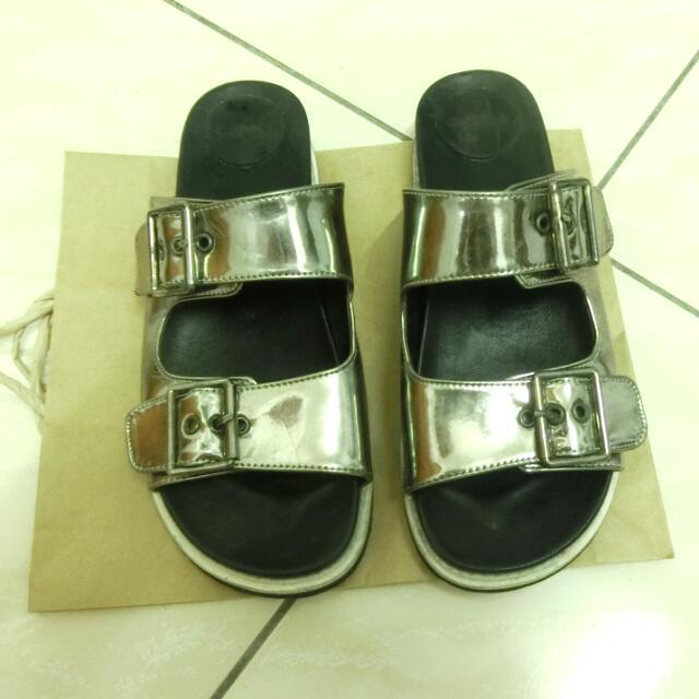 正韓太空銀伯肯拖鞋