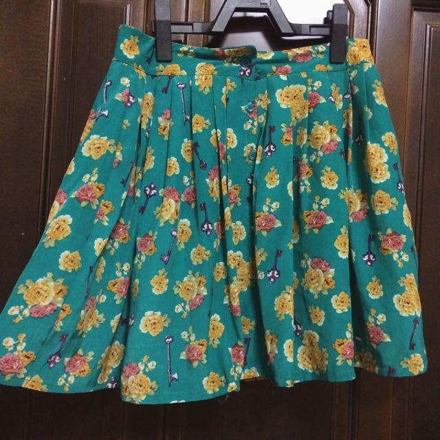 復古小花排扣短裙