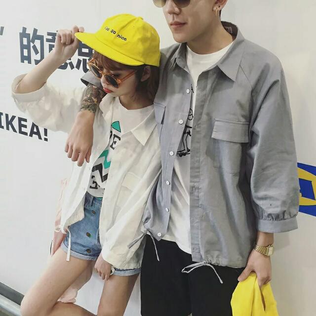 【春裝】韓版寬鬆情侶長袖襯衫