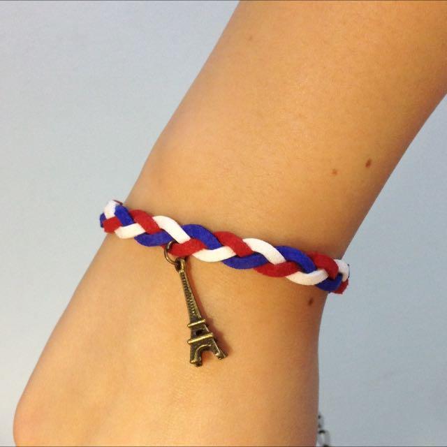 歐洲風情巴黎鐵塔皮繩手鍊