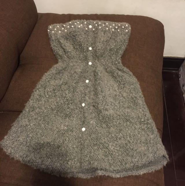 露肩珍珠灰色性感小洋裝