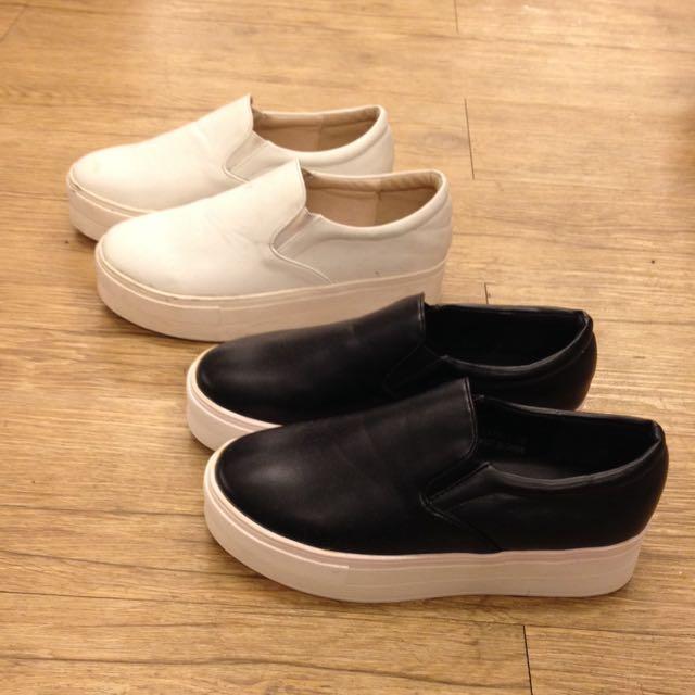 韓版皮質厚底休閒鞋/小白鞋