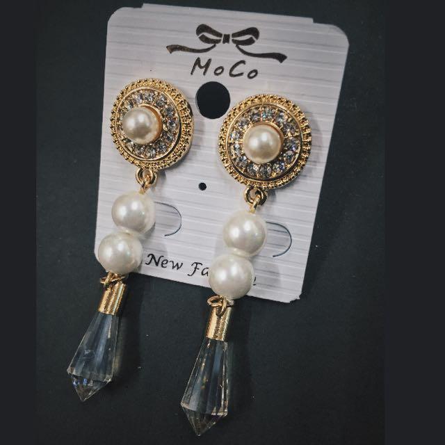 (現貨實拍)歐美時尚大牌 圓形手工鑲鑽耳環