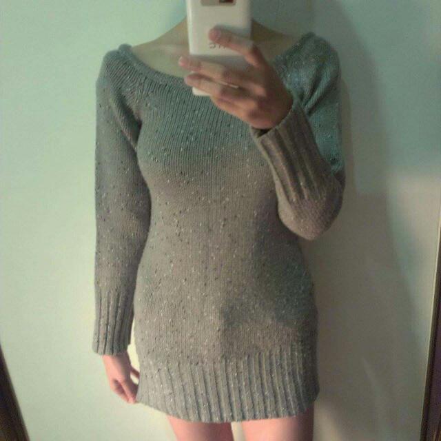 修身 混灰色長版毛衣