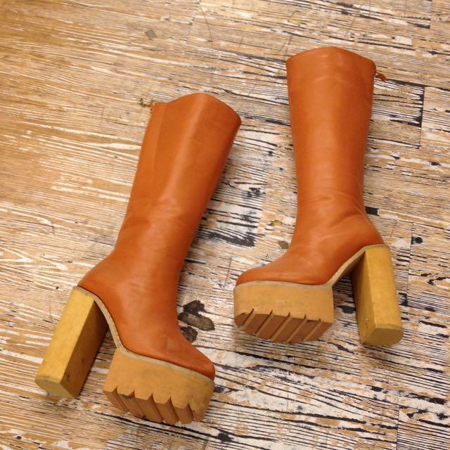 歐美款粗跟厚底長筒高跟靴 駝色