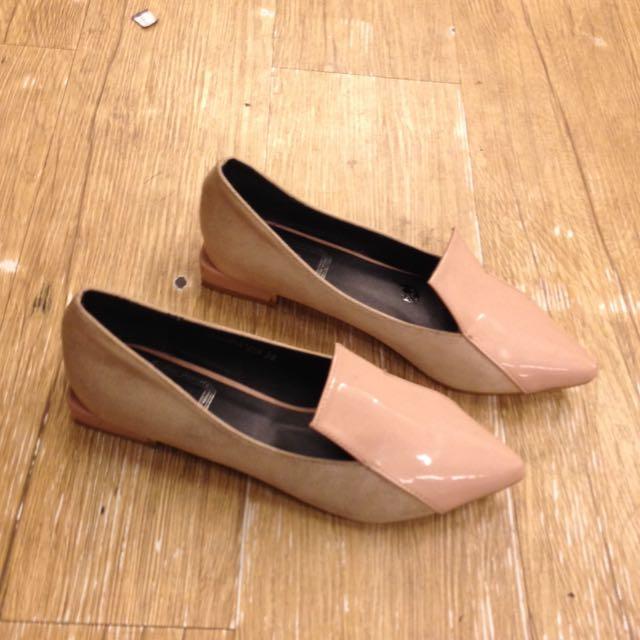韓版質感尖頭平底鞋 淺粉色