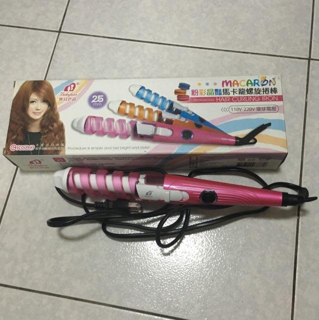 可愛桃紅色捲髮棒 電棒