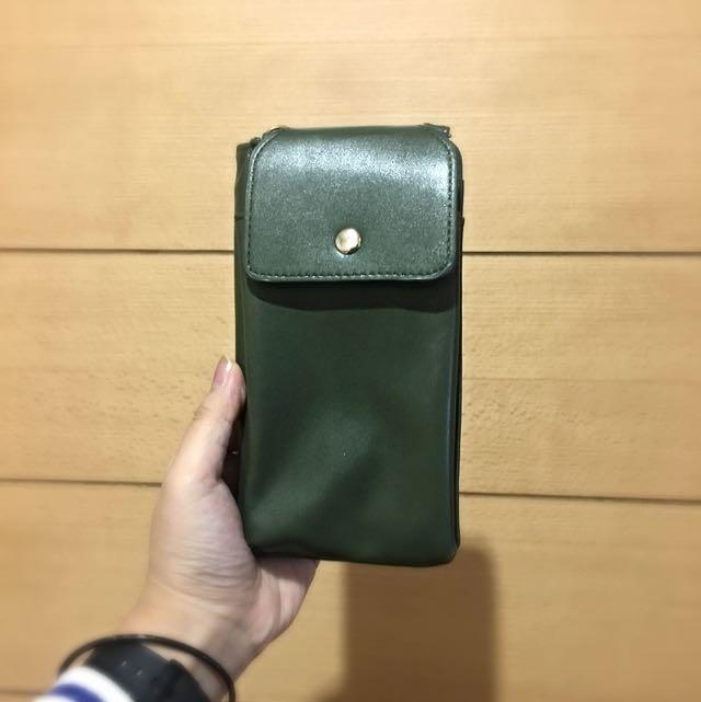 (待寄出 多功能手機錢包 長夾 軍綠