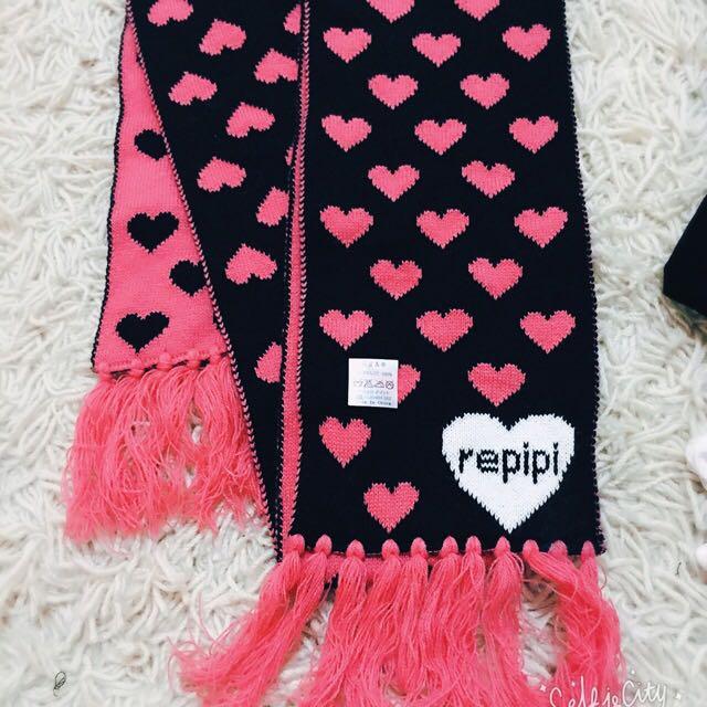日本購入 愛❤️ 兩面 圍巾 超可愛