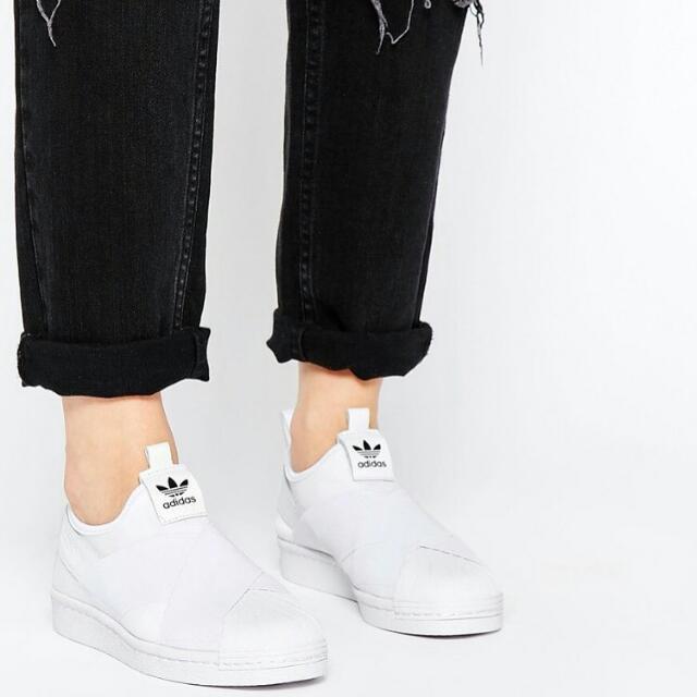 Adidas superstar slip on 白繃帶鞋