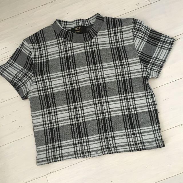 Black & White Check High Neck Crop Top