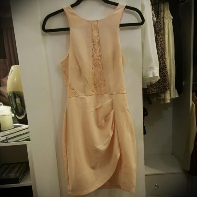 Blush Lace Insert Wrap Dress