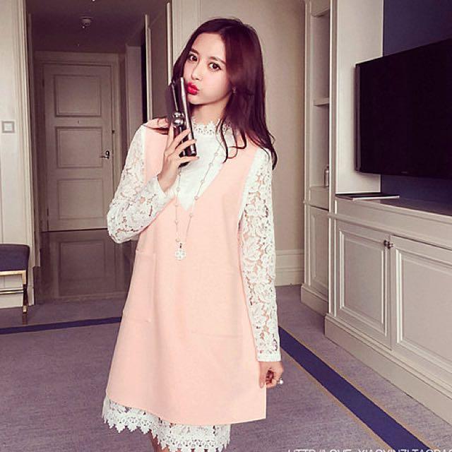 BS三月新品 韓版蕾絲衫+開叉背心裙套裝 N10574
