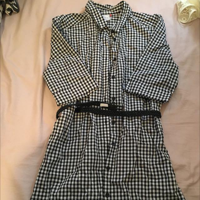 Checkered Dress + Belt 🌹 Size 12