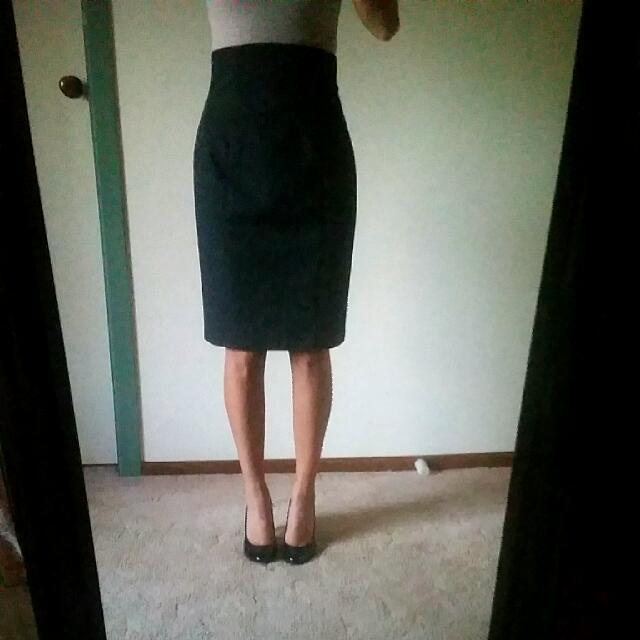 Cue Grey High Waisted Skirt