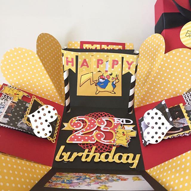 Happy 23rd Birthday Explosion Box Card In Pokemon Theme Design