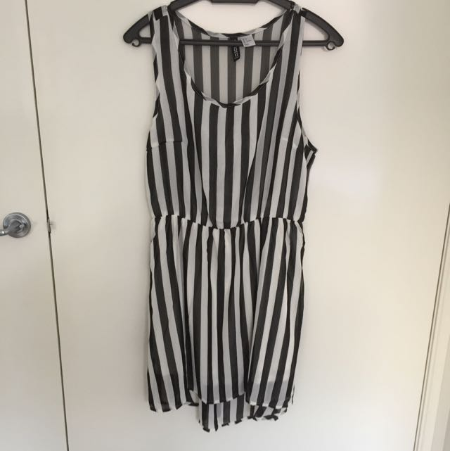 H&M Sheer Black White Stripes Dress