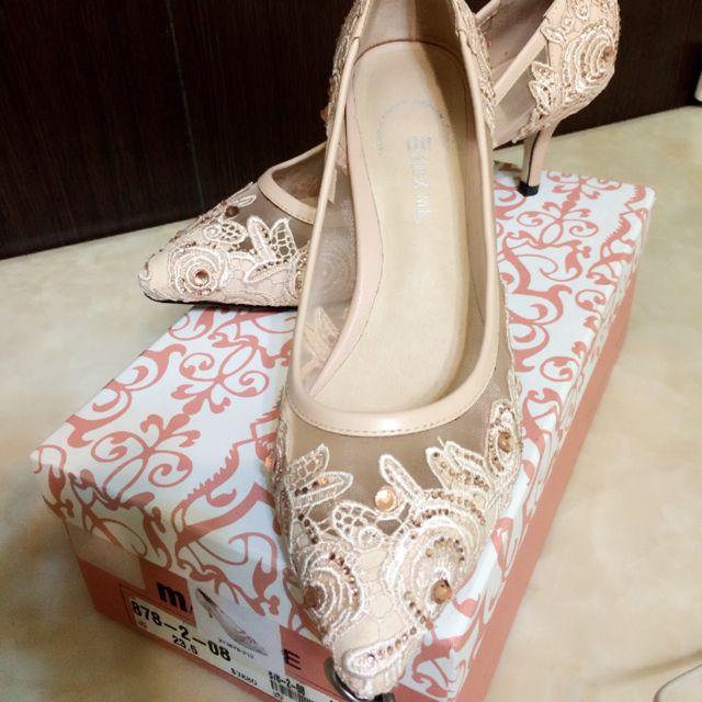 M! MEZ ME裸膚色蕾絲跟鞋(附鞋盒)