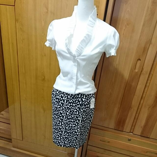 Mango滾邊襯衫+Lowrys Farm裙