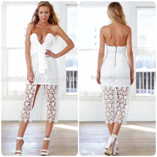 Sweet White Lace Midi dress Size 6
