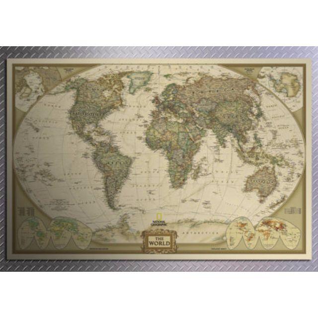 Vintage Retro Antique Globe World Map Poster Large Print Wall Chart Home  Decor