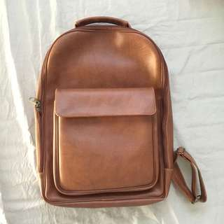 Brown PU leather backpack