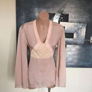 Lisa Ho Peach Cupro Long Sleeve Top Blouse Ss 8
