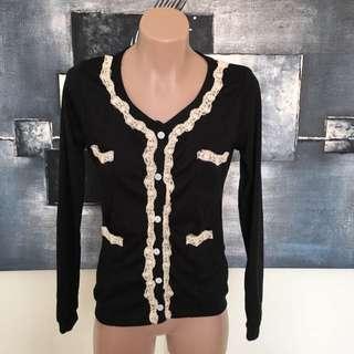 New BNWT Ruijia Sz 6-8 Black W/ Lace Detail Long Sleeve Cardigan