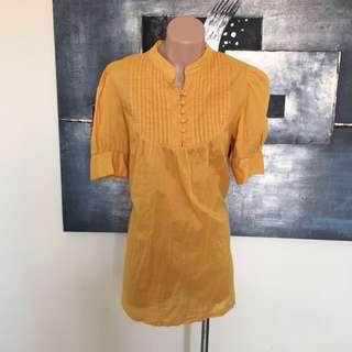 Valley Girl Sz 12 Mustard Pintucked Top Blouse