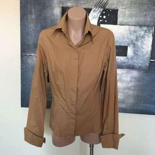 Zara Sz M 12au Camel Long Sleeve Business Shirt Top Blouse