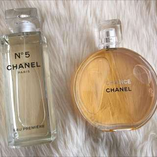 Rare Bundle Chanel 150mL No5 Eau Premier & 150mL Chance EDT Perfume