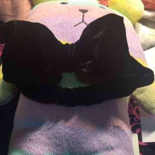 黑色蝴蝶結 絨布髮帶