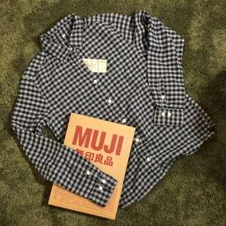 無印良品MUJI-9折‼️女有機棉法蘭絨格紋襯衫