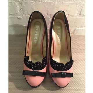 粉色 高跟鞋 37~38