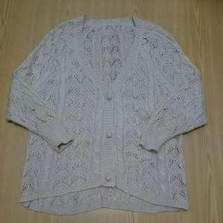 米白超細緻針織罩衫(全新僅試穿)