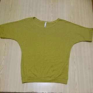芥黃色短袖針織衣(全新)