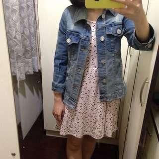 E hyphen 滿版星星粉紅七分袖洋裝
