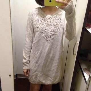 韓拍 編織混色長毛衣/裙