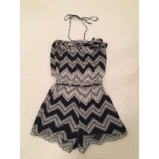 Navy Blue And White Playsuit