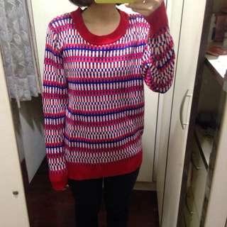 專櫃Dailo 紅色條紋排列長毛衣