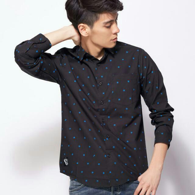 5折全新🚩101原創 滿版印花長袖襯衫S 黑色 藍星星