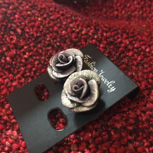 復古紫金銅手工玫瑰貼耳耳環