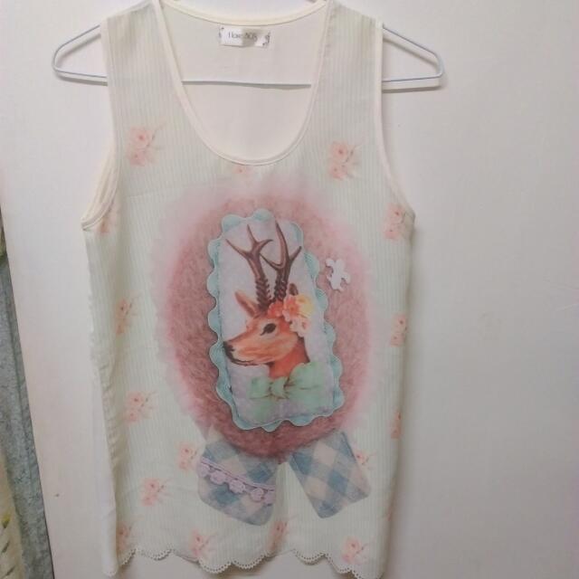 小鹿無袖雪紡衫